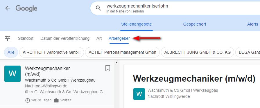 Google for Jobs - Filter Arbeitgeber