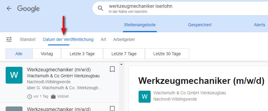 Google for Jobs - Filter Datum